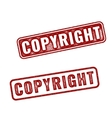 Red Realistic Copyright grunge rubber stamp vector image