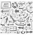 arrows doodles set vector image vector image