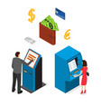 banking terminal service set isometric view vector image