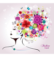 Beautiful style Woman with Flowers and Butterflies vector image vector image
