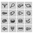 black meat and sausage icon set vector image