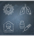 chalkboard coronavirus infection icon set in line vector image vector image