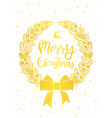 christmas card gold wreath on white vector image vector image