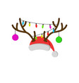 christmas carnival mask with reindeer antlers vector image