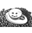 Drawn Sketch painting coffee cup with beans vector image vector image