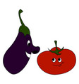 Eggplant and tomato on white background
