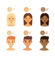 faces with skin tone spf vector image vector image