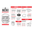 Fast food menu design template restaurant or cafe