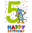 fifth birthday card design vector image