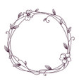 floral frame wreath with stylized leaves vector image vector image