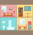 furnishing interior rooms on home interior view vector image vector image