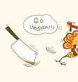 go vegan thanksgiving turkey bird runs away vector image vector image