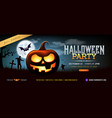 halloween party ghost pumpkin greeting card vector image vector image