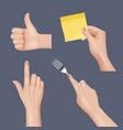 hands realistic various gestures vector image