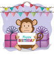happy birthday card with cute monkey vector image