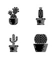 house cacti in pot glyph icons set vector image vector image