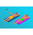 inflatable ring and mattress young men on air vector image