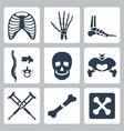isolated skeleton icons set vector image
