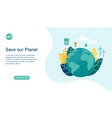 landing page layout with planet earth concept vector image