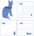 layout of the notepad with images of cats vector image vector image