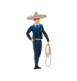 man with lasso in sombrero hat isolated cowboy vector image vector image