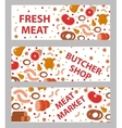Meat and sausages banner set flat style vector image vector image