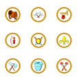 medieval weapons icon set cartoon style vector image vector image
