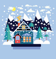 merry christmas greeting card design with country vector image vector image