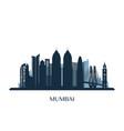 mumbai skyline monochrome silhouette vector image vector image
