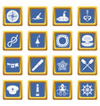 nautical icons set blue vector image vector image