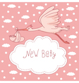 new baby stork flying with baby girl vector image vector image