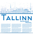 Outline Tallinn Skyline with Blue Buildings vector image vector image