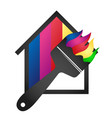 paint brush and house vector image vector image