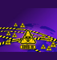 quarantine sign tapes strips around planet earth vector image vector image