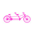 retro tandem bicycle in pink design vector image