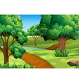 Scene with trees along the trail vector image vector image