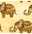 seamless bright ethnic pattern with elephant vector image vector image