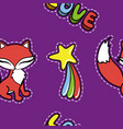 seamless pattern with cute fox and other stickers vector image vector image