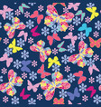 seamless pattern with flying butterflies and vector image vector image