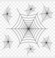 set of black spider web on transparent vector image vector image