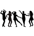 silhouettes of girls dancing vector image vector image