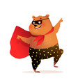 teddy bear superhero smiling and dancing character vector image vector image
