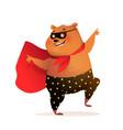 teddy bear superhero smiling and dancing character vector image