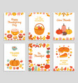 thanksgiving day cards autumn rustic poster vector image vector image