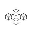 thin line cubes like simple blockchain vector image