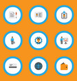 trade icons flat style set with world bank card vector image