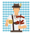 traditional oktoberfest man icon vector image vector image