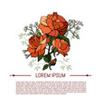 vintage flowers set over white background vector image