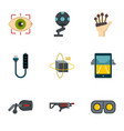 vr game equipment icons set flat style vector image