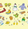 warm colored doodle winter element seamless vector image vector image
